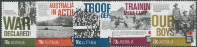 AUS SG4162-6 Centenary of World War One (WWI): 1914 set of 5